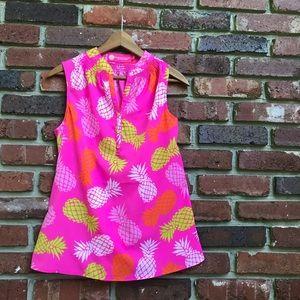 Pineapple Women's Sleeveless Blouse Hot Pink Neon